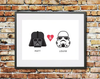 Wedding - Engagement - Anniversary - Valentines - Gift - Personalised Gift - Star Wars Gift - Star Wars - Stormtrooper - Darth Vader - Print