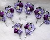 Wedding boutonniere Silver purple flowers Groomsmen boutineers Mens accessories Groom Flowers Boutonnieres brooch bouquets Mens boutonniere