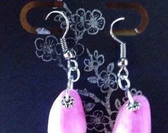 Hawaiian Inspired Pink Moon Shell Earrings