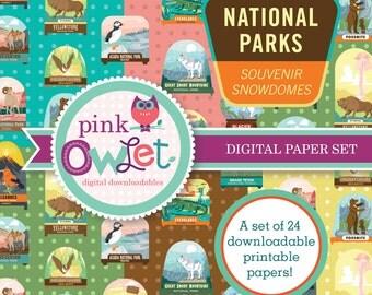 National Parks Snowdomes Digital Paper Set