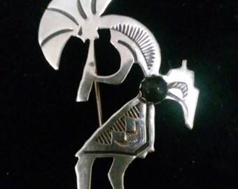 Sterling Silver Kokopelli Brooch/Pin