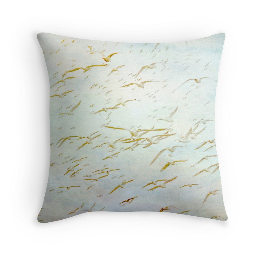 Decorative Pillows With Bird Design : Bird Pillow Seagull Throw Pillow Bird Cushion Beach Decor