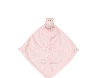 Monogrammed Pink Hippo Lovie / Angel Dear / Personalized Blankie / Security Blanket / Baby Blankie Gift / Animal Blankie