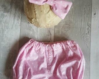 Pink / white spotty cakesmash 2 piece girls set, photoprop. Made to order.