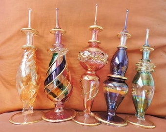 "5 pcs Set Egyptian Mouth Hand Blown Perfume (7"" Inch) Bottles Pyrex Glass Handmade..LARGE"