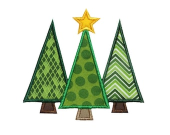 Three Christmas Trees Applique Machine Embroidery Design