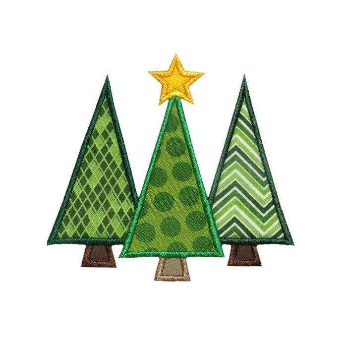Three Christmas Trees Applique Machine Embroidery Design