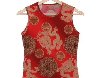 90s red chinese tank top / women top / dragon and Chinese signs