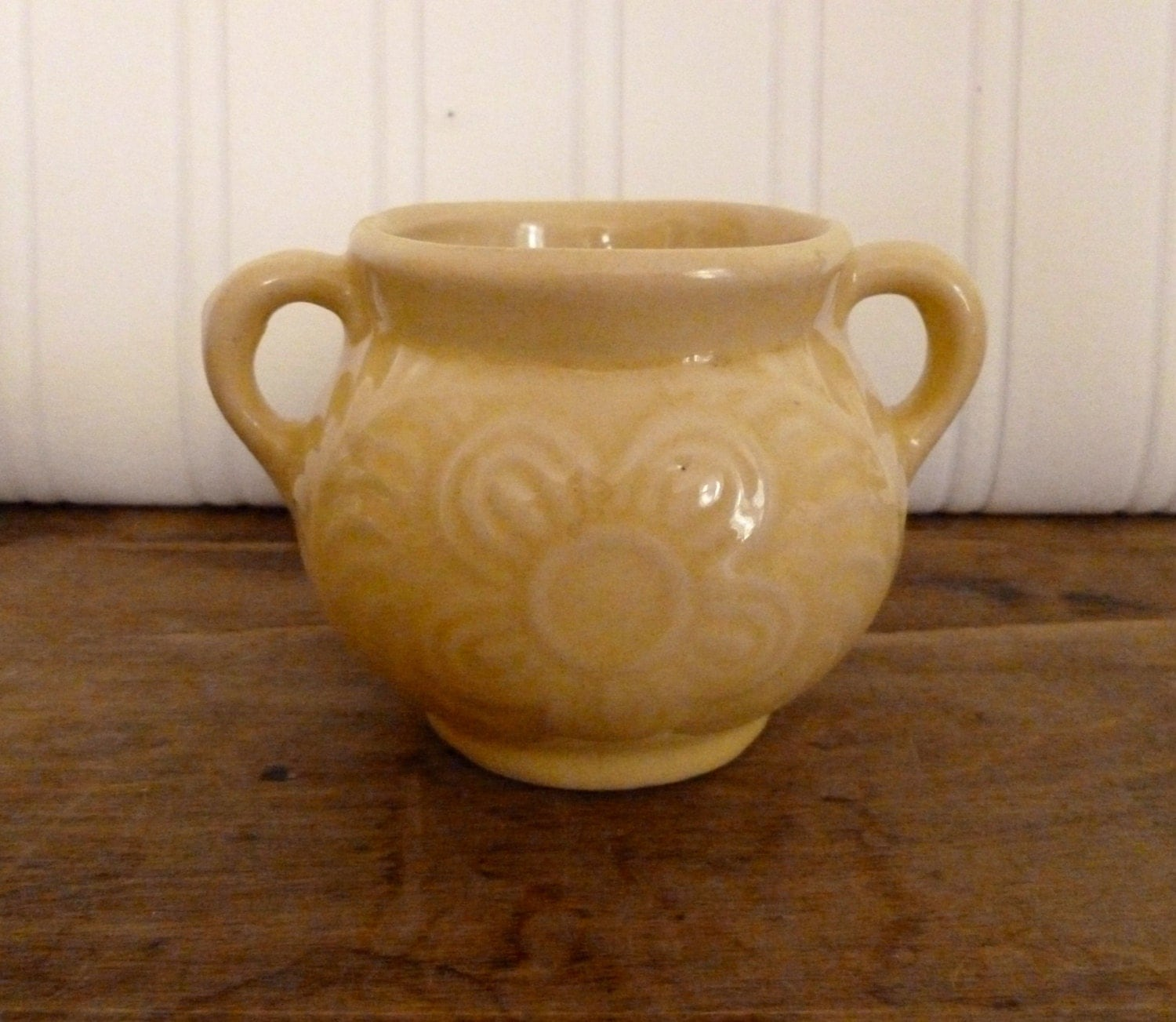 Vintage Pale Yellow Ceramic Planter Flower Pot Embossed With