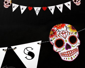 Red Sugar Skull Bunting Wedding Decoration MR & MRS Tattoo Rockabilly Party Day of the dead candy skull