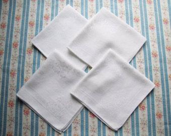 4 Vintage Wedding White Damask Linen Napkins