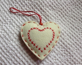 Cream & Red Heart Valentines Christmas Home Decoration