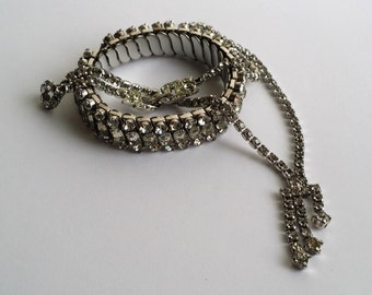 Amazing Vintage Silver Tone Faux Diamond Sparkling Clear Rhinestone Scrap Beaded JUNK Bracelet and Necklace for Parts.