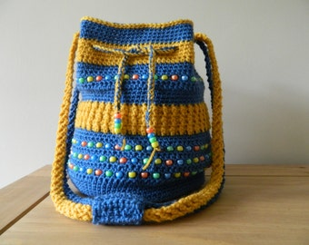 Bucket Bag in Blue and Golden Yellow with beads