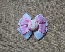Girls Hairbow, Baseball Hairbow, Softball Hairbow, Pink Hairbow, Girls Hair Accessory, Sports Hairbow, Toddler Hairbow, Little Girls Hairbow