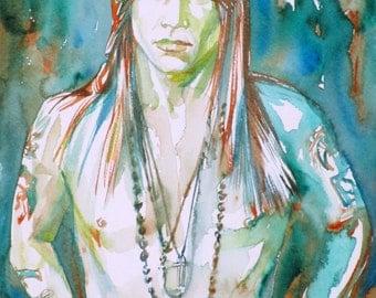 AXL ROSE - original watercolor portrait - one of a kind!