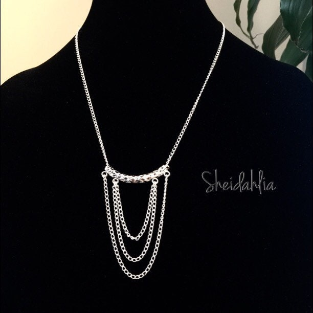 silver necklace layered necklace chain necklace by sheidahlia