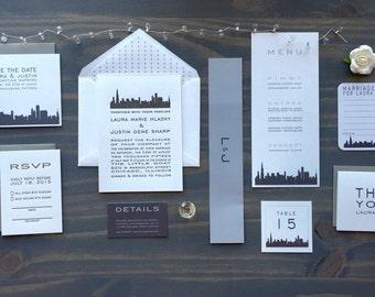 Chicago Wedding Invitations, Letterpress Skyline, Save the Date, Grey Black White, Modern Architectural, City Invites, Illinois, Simple