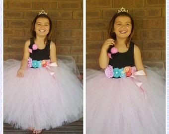 Light Pink Flower girl long Full Tutu Skirt  -Wedding,birthday,flower girl- Can Be MADE in Other COLOR