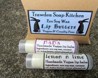 Vegan Lip Balm Set, 2 x soy wax lip butter, organic cocoa butter, coconut oil, kukui butter, subtle use of essential oils