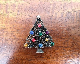 Christmas Tree Pin, Christmas Jewelry, Scarf Pin, Holiday Jewelry, Vintage Brooch