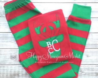 Boy Girl Monogrammed Reindeer Applique Christmas Pajamas Family Christmas morning Holiday PJ's Santa pictures Christmas card Stripe Polkadot