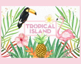 Tropical island elements. Watercolor clipart. Pink flamingo, pineapple, coconut, orange, toucan, hibiscus flower, cactus, heliconia