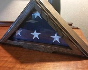 Solid Red Oak Flag Case for 3x5 flag