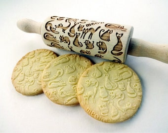 Meow CATS Rolling Pin.  Embossing rolling pin. Kids Baking Rolling Pin. Pretend Kitchen Play