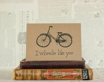 I Wheelie Like You Black Inkwell Bicycle Card : Brown Kraft Paper