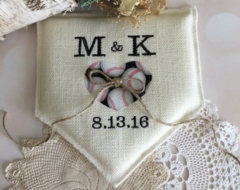 Baseball wedding ring pillow, ring bearer pillow, personalized, home plate shaped, black and white, burlap ring pillow, Product ID# 2014-028