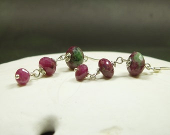 Faceted Natural Ruby Earrings/ Natural Ruby Zoisite Earrings/ Dangle Natural Ruby Sterling Silver Earrings/ July Birthstone