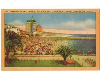 Long Beach California vintage linen postcard   Rainbow Pier Lagoon   1940s CA travel souvenir, Pacific coastal decor, vacation scrapbook
