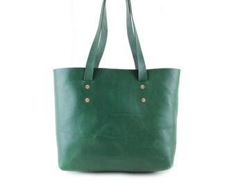 Green leather shoulder bag, Veg tanned leather tote bag, Large leather tote bag, Copper Rivets & two internal pockets