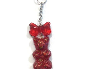 Red Cellphone Charm, Red Dust Plug, Kawaii Phone Charm Gummy Bear Charm, Gummy Bear Dust Plug, Cute Phone Charm, Candy Cellphone Plug