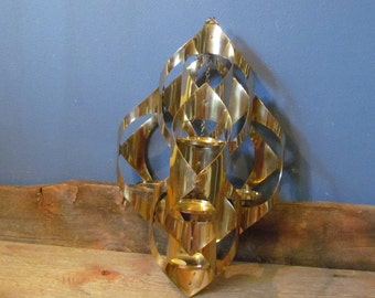Vintage 1960's Mascot Gold Toned Mid-Century Sculptural Hanging Candle Holder