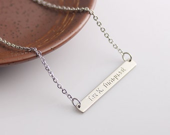 Dainty Bar Necklace, Dainty Personalized Gold Bar Silver Bar Necklace, Engraved Long Charm, Bridesmaid Gift