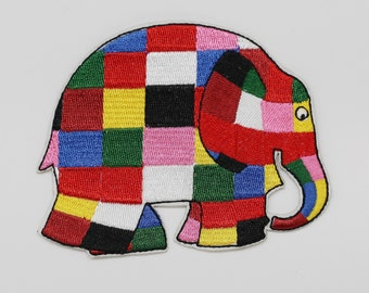 10.5 x 8 cm, Elephant Elmer Iron on Patch (P-352)