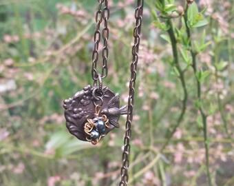 Bronze Vintage Bird's Nest Necklace