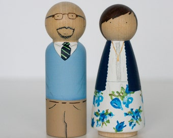 Custom hand painted wooden peg dolls Family of 2, Clairabells custom family