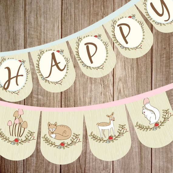 woodland animal birthday banner party banner diy banner