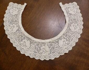 Gorgeous Victorian Whitework Ayshire Lace Collar