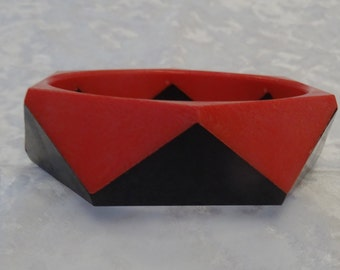Red and Black Octagon Bangle