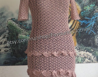 "Knitted summer dress ""Cappuccino"""