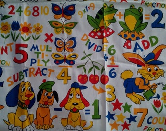 Vintage Nursery School Number Garden Fabric Unused