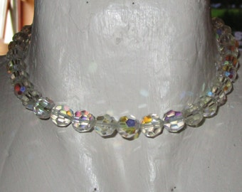 """vintage silvertone chain choker necklace faceted crystal beads with smaller beads 14""""extends 2"""""""