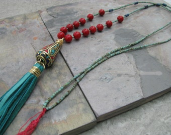Turquoise tassel necklace, Tibetan bead leather tassel, bohemian jewelry, long ethnic tribal necklace, turquoise, coral, lapis, statement