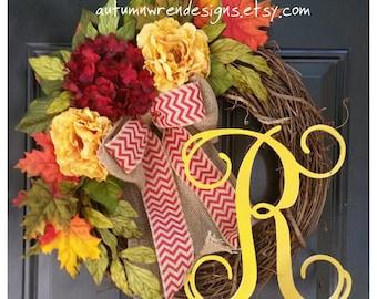 FALL Wreath for Front Door, Hydrangea Wreath, Monogram Wreath for Door, FALL Leaves, Autumn Door Decor