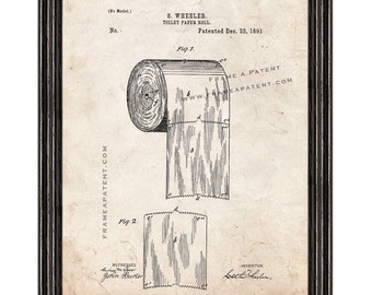 Framed Patent Print - Toilet Paper Roll WITH Black Wood Frame - Framed Patent Art