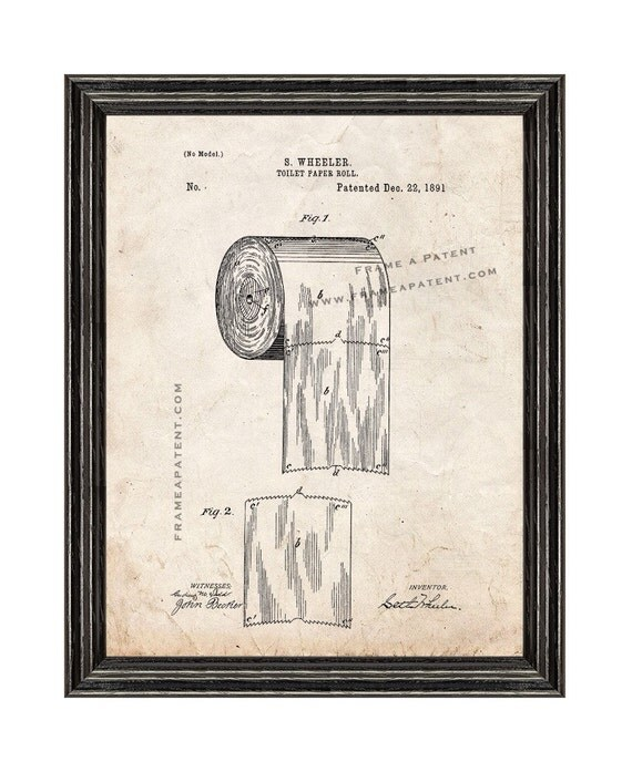 Framed Patent Print Toilet Paper Roll With Black Wood Frame